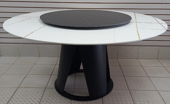 DINING TABLE ROUND 5FT MARBLE TOP WITH SPINNING CENTER TWO TONE WHITE BLACK JK97