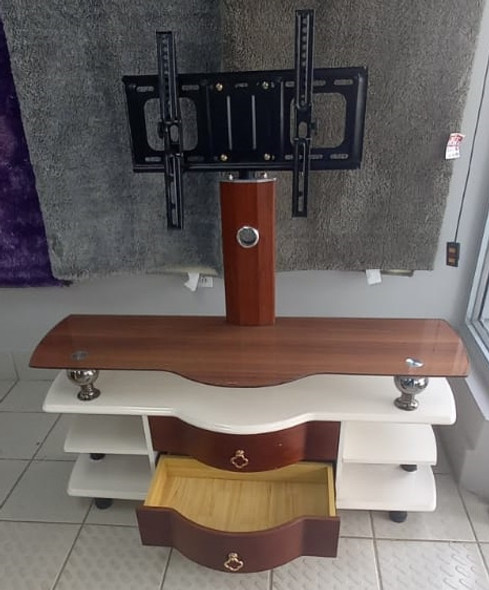 TV STAND GLASS AND WOOD WITH MOUNT BROWN AND WHITE WITH DRAW