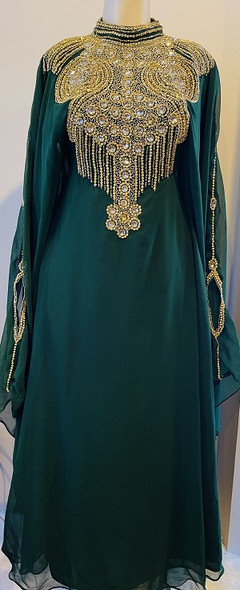 Gown Beaded Emerald with gold beads