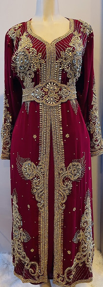 Gown Beaded Maroon with gold stones and band