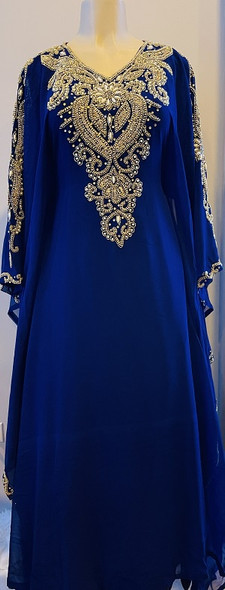 Gown Beaded Navy Gold and pearl bead inner waist tie