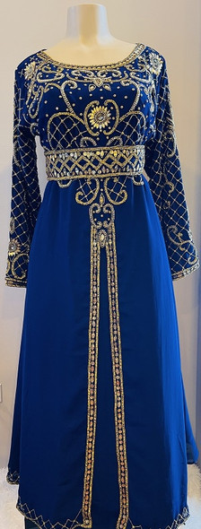 Gown Beaded navy with gold beads and band
