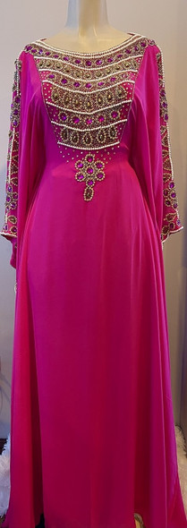 Gown Beaded Pink with gold and pearl beads, waist tie