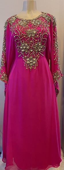 Gown Beaded Pink with gold beads