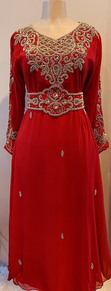 Gown Beaded Red with gold bead and band embellished sleeve