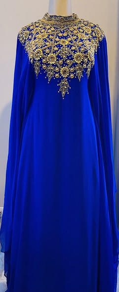 Gown Beaded Royal Blue gold beads inner waist tie