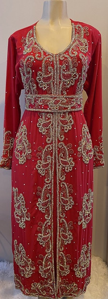 Gown Beaded Red with gold silver and red beads