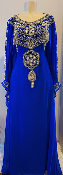 Gown beaded Royal blue gold beads with waist tie