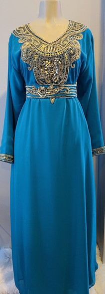 Gown Beaded Teal with gold beads and band
