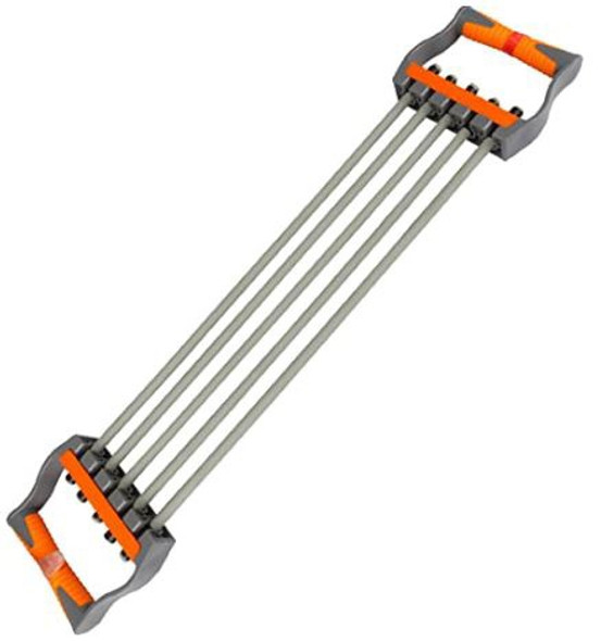 Chest Expander 5 Ropes Resistance Exercise System Bands Strength Trainer for Home Gym Grey & orange