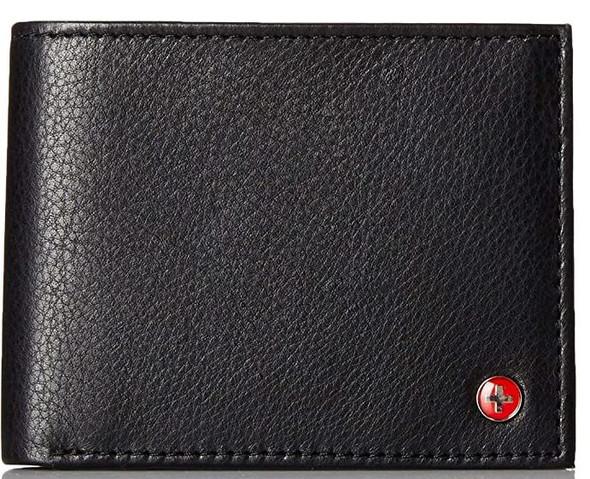 Wallet Men Alpine Swiss Leather Bi fold flip up window Black