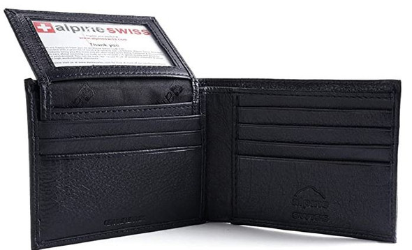 Wallet Men Alpine Swiss Leather Bi fold flip up window Black