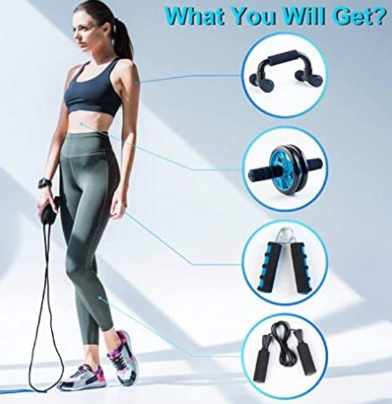 Ab Roller Wheel 5 in 1 kit Boswell Knee Pad, Grip, Skipping Rope, Resistance Bands, Pad Push Up Bars Handles
