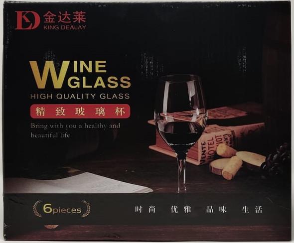 GLASS WINE SET 6PCS CLEAR KING DEALAY GLASS-22