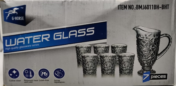 GLASS WATER SET 7PCS CLEAR G-HORSE GLASS-25 BMJ6011BH-BHT