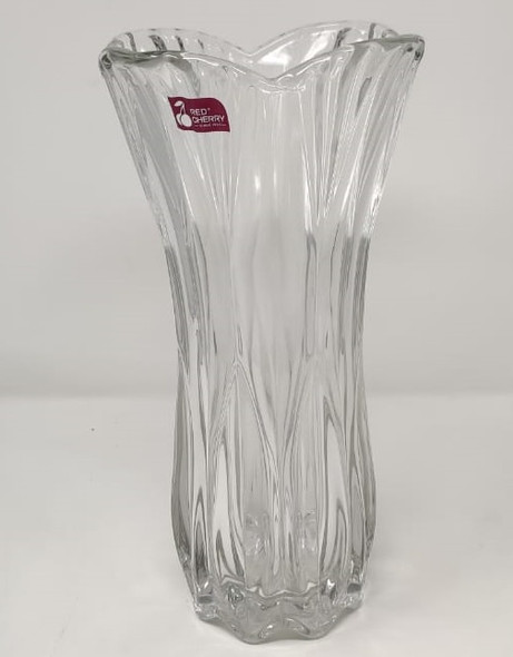 "VASE 12"" X 6"" GLASS-27 CLEAR HP0330 30CM BRIGHTON RED CHERRY"