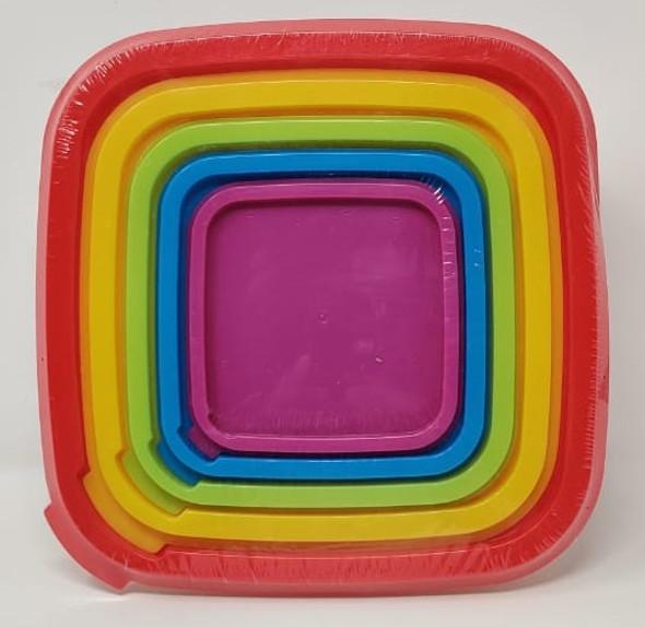BOWL SET 5PCS PLASTIC WITH COLOR COVER FAM25