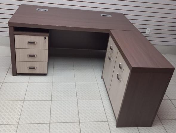 "OFFICE DESK TABLE SET YF007-160 1.6M 166X750X760mm 63X29.5X30""  A B C & D"