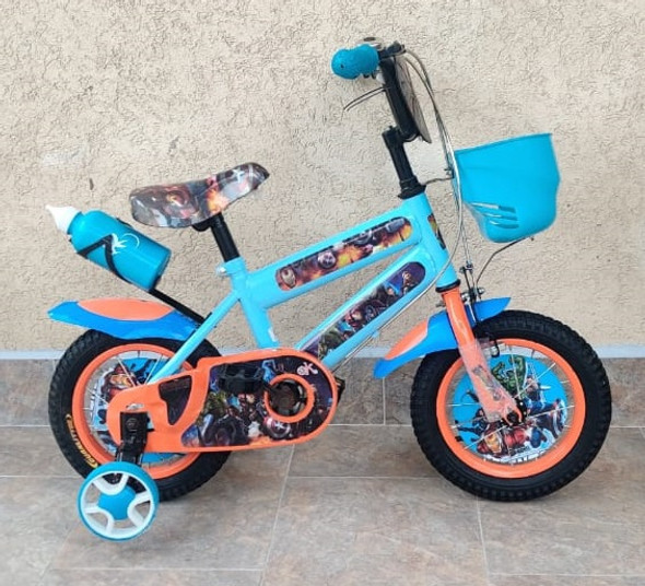"BICYCLE 12"" 03-BLUE & ORANGE AVENGERS WITH WATER BOTTLE"