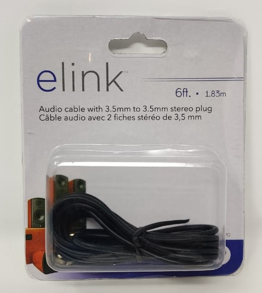 LEAD 1 3.5mm MALE STEREO TO 1 3.5mm MALE STEREO 6' 1.83M ELINK CA-51470