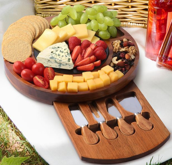 Charcuterie Board Meat Platter With Knife Set & Marble Plate