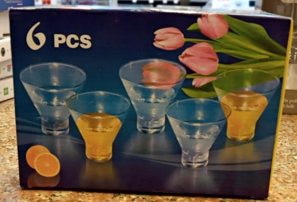 GLASS SET 6PCS SMALL FLOWER BOX BLUE & YELLOW