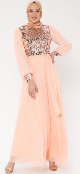 Dress Arin Chiffon & sequin Light peach
