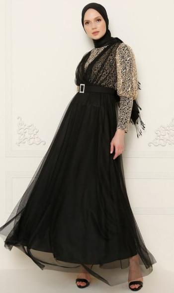 Dress Meksila Black tulle and lace