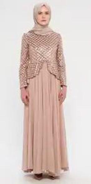 Dress Peplum Sequin Bodice Rose gold