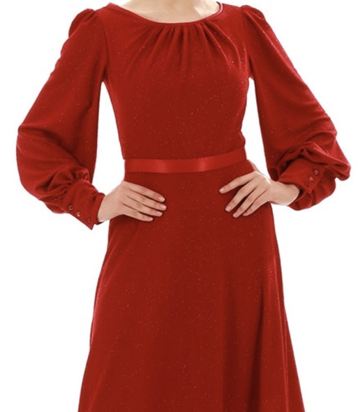 Dress Ruby Red lined with Bishop sleeve