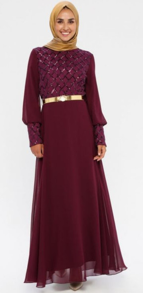 Dress Sequin & chiffon with gold belt