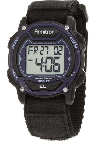 Watch Men Armitron Sport 7004BLU Blue Digital Chronograph Black Nylon Strap