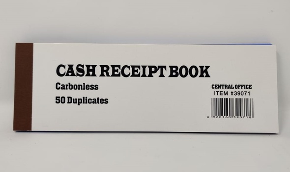 STATIONERY CASH RECEIPT BOOK #39071 CARBONLESS 50 DUPLICATES