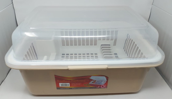 DISH RACK 1 LAYER WITH COVER PLASTIC 6204 BOUTIQUE CUPBOARD LARGE