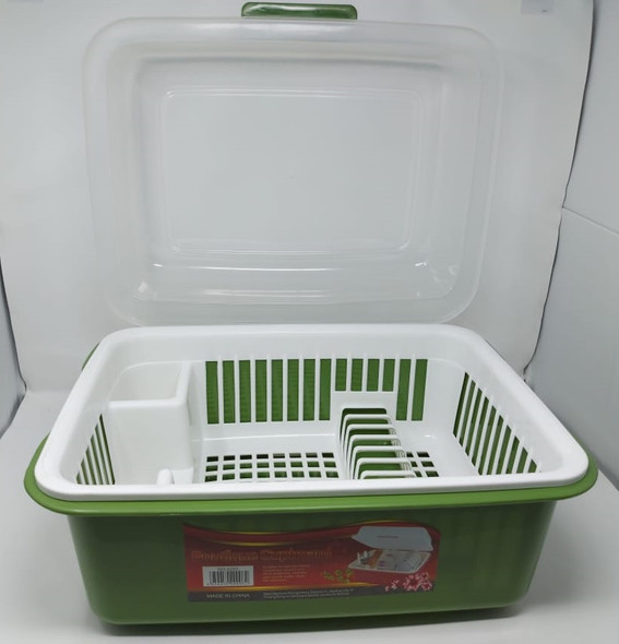 DISH RACK 1 LAYER WITH COVER PLASTIC 6203 BOUTIQUE CUPBOARD MEDIUM