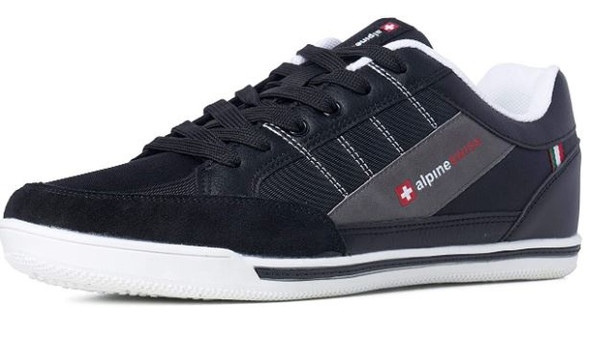 Footwear Alpine Swiss Men's Stefan Suede Trim Black Sneakers