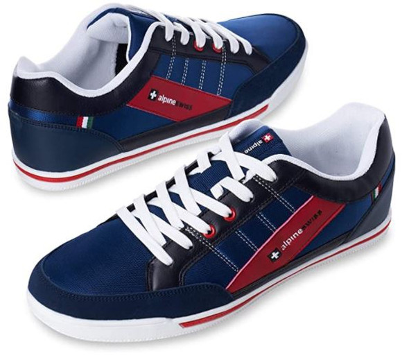 Footwear Alpine Swiss Mens Stefan Suede Trim Navy Sneakers