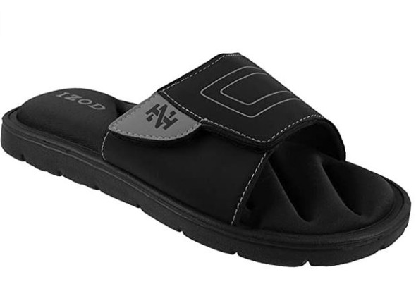 Footwear IZOD Men's Slide Memory Foam Velcro Adjustable Sport
