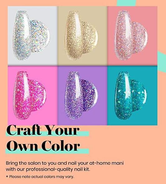 Nails Beetles Gel Polish with UV Light Starter Kit Soak Off Set 6 Pcs Sparkly Glitter Base Gel Top Coat