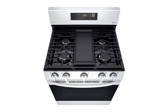 """STOVE 5 BURNER LG 30"""" LRGL5823S WITH AIR FRYER SMART WIFI FAN CONVECTION EASY CLEAN WITH PLATE-GRIDDLE"""