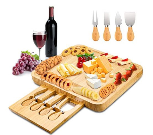Charcuterie Cheese Board Mosskic with Knife Set, Bamboo