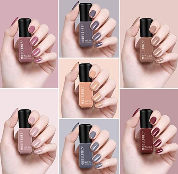 Nails Modelones Gel Polish Set, Brown Pink Nude 7 Colors set MZ-0145