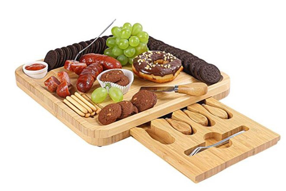 Charcuterie Board Vaefae with Magnetic Slide-Out Drawer and 2 Ceramic Bowls