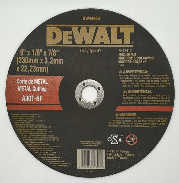 "DISC 9"" CUTTING METAL DEWALT DW44600"