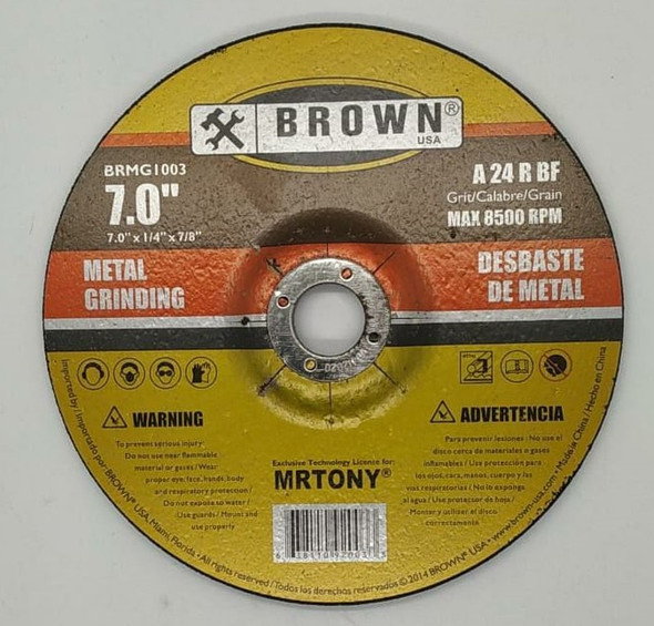 "DISC 7"" X 7/8"" BROWN USA GRINDING BRMG1003"