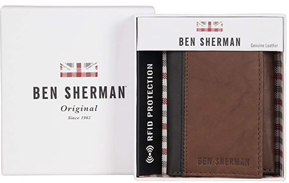 Wallet Men Ben Sherman Slim Bifold Full-Grain Leather RFID Gift Box