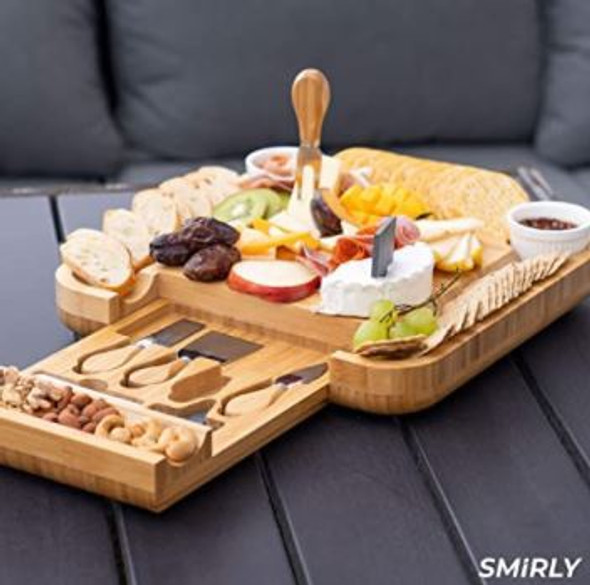 """Charcuterie Cheese Board Smirly with  Knife Set 13 x 13 x 2"""" Wood Platter"""