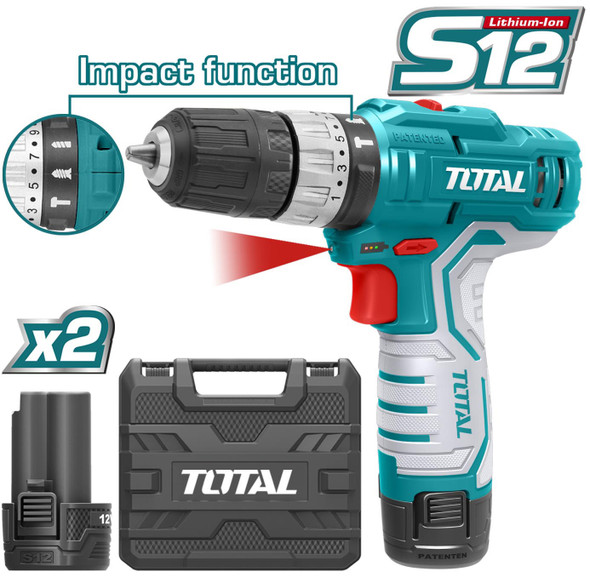 DRILL GUN TOTAL UTIDLI1232 12V LITHIUM ION