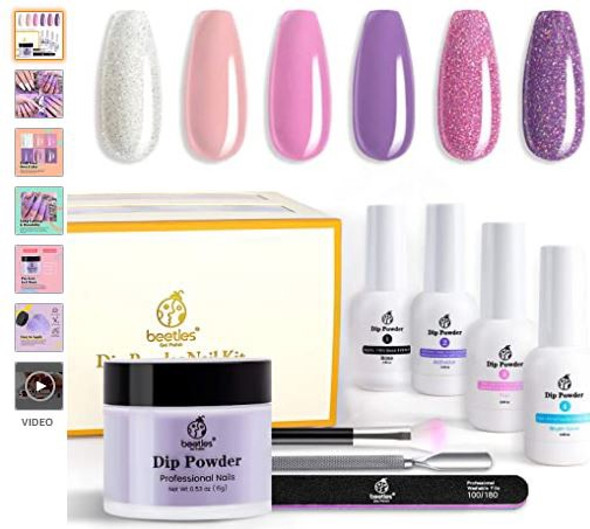 Nails Beetles Dipping Powder Manicure Starter Kit, 6 Colors Lavender Collection Pink/Purple and Glitter