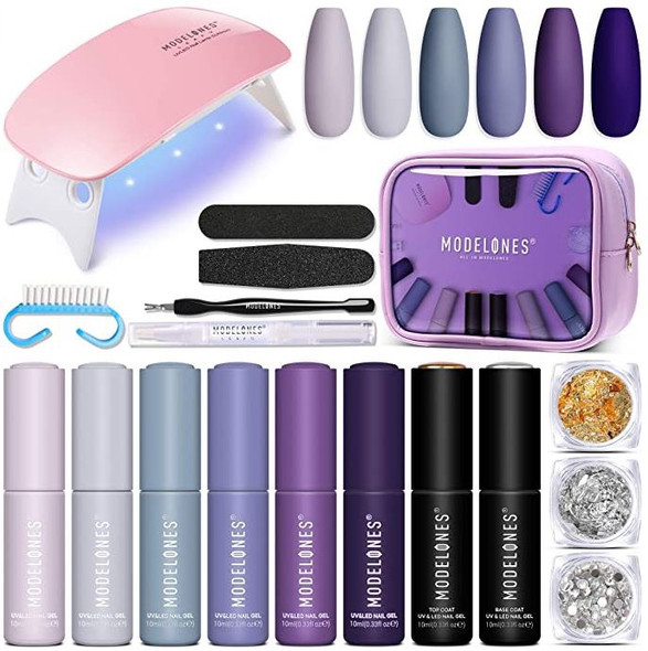 Nails Modelones Gel Polish Kit with Light Starter 6x10ML Colors, 10ML Base and Top Coat Beginner purple